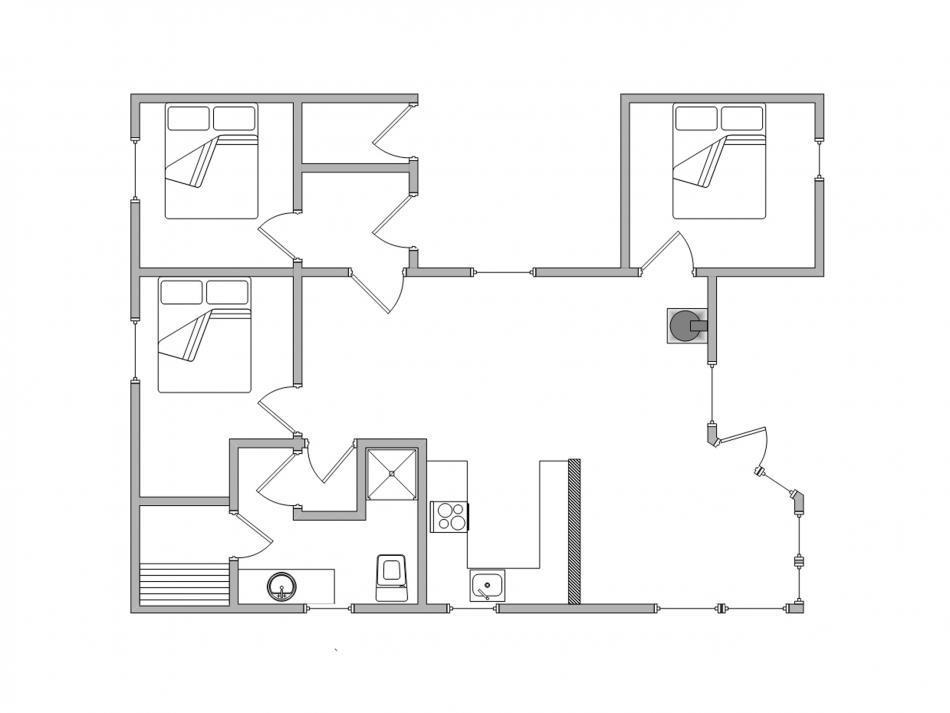 kleine geschlossene küche   schlafzimmer hell